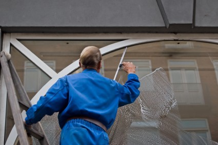 Commercial window cleaning in Pinole CA by Russell Janitorial LLC